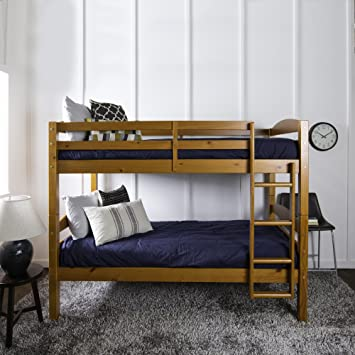 Amazon Com Twin Over Twin Wood Bunk Bed Full Length Guardrails