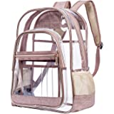 NiceEbag Clear Backpack Heavy Duty Clear Bookbag Large See Through Backpack for Women and Men Stadium Approved Transparent Bag for College Work Travel gold Upgrade - Rose Gold 15.6 inch