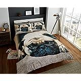 select-ed ® de Lujo 3d animales edredón fundas de almohada juego de cama solo doble King 3D Sweet Pug Talla:King Size