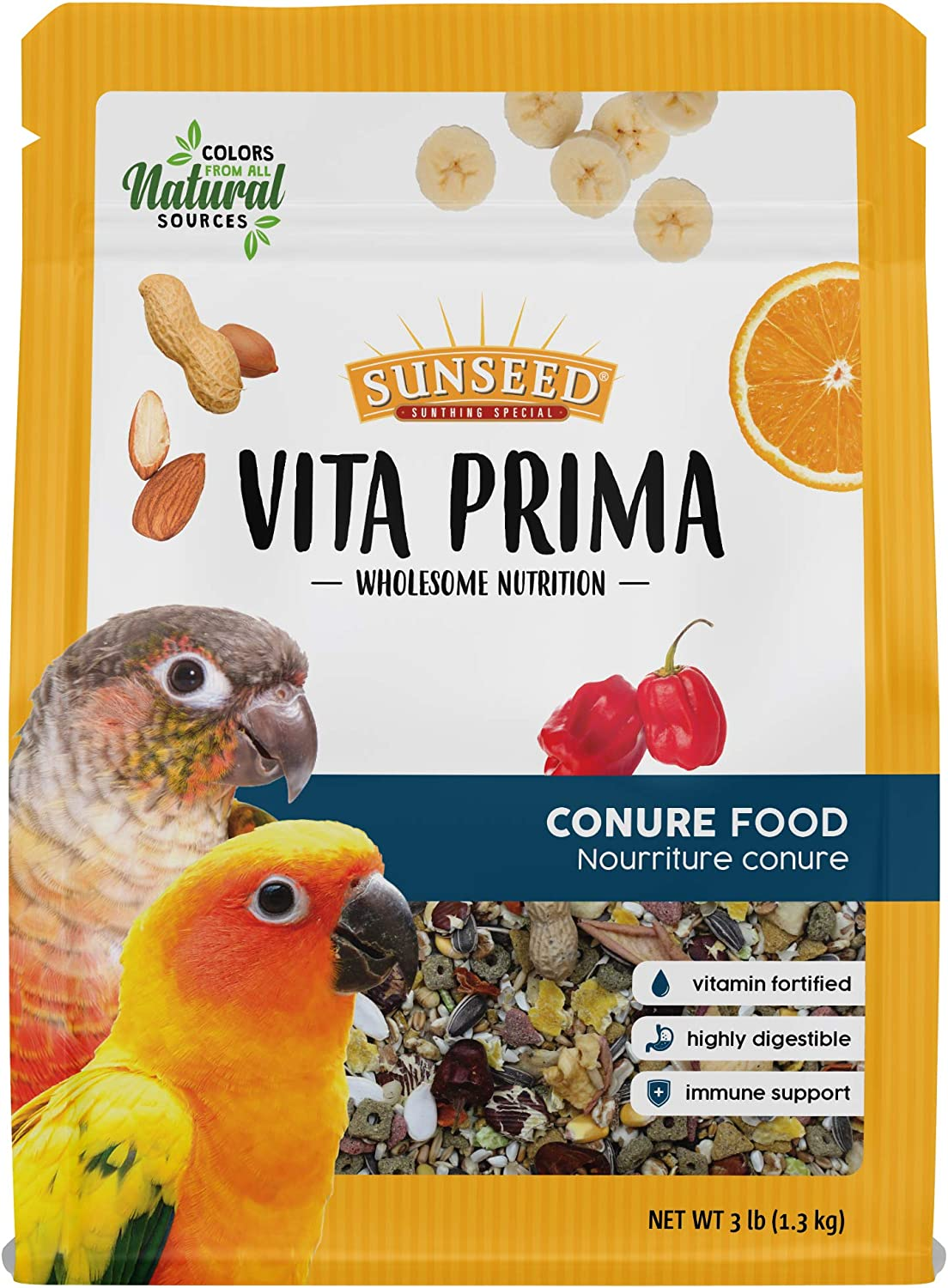 Sunseed Vita Prima Wholesome Nutrition Conure Food, 3 LBS