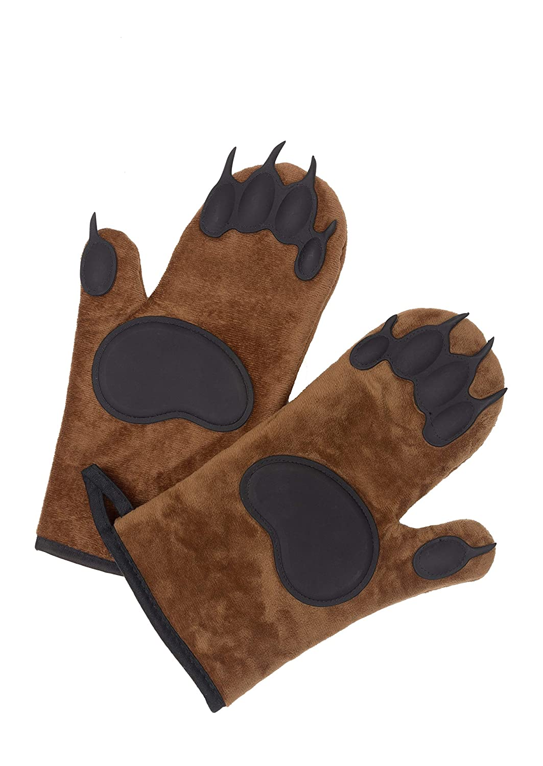 William's Cooking Bear Paw Oven Mitts - Set of 2 with Pot Holders Included - Super Soft - Heat Resistant - Non Slip - Fun - Great Gift for Friends or Family - Complete Set