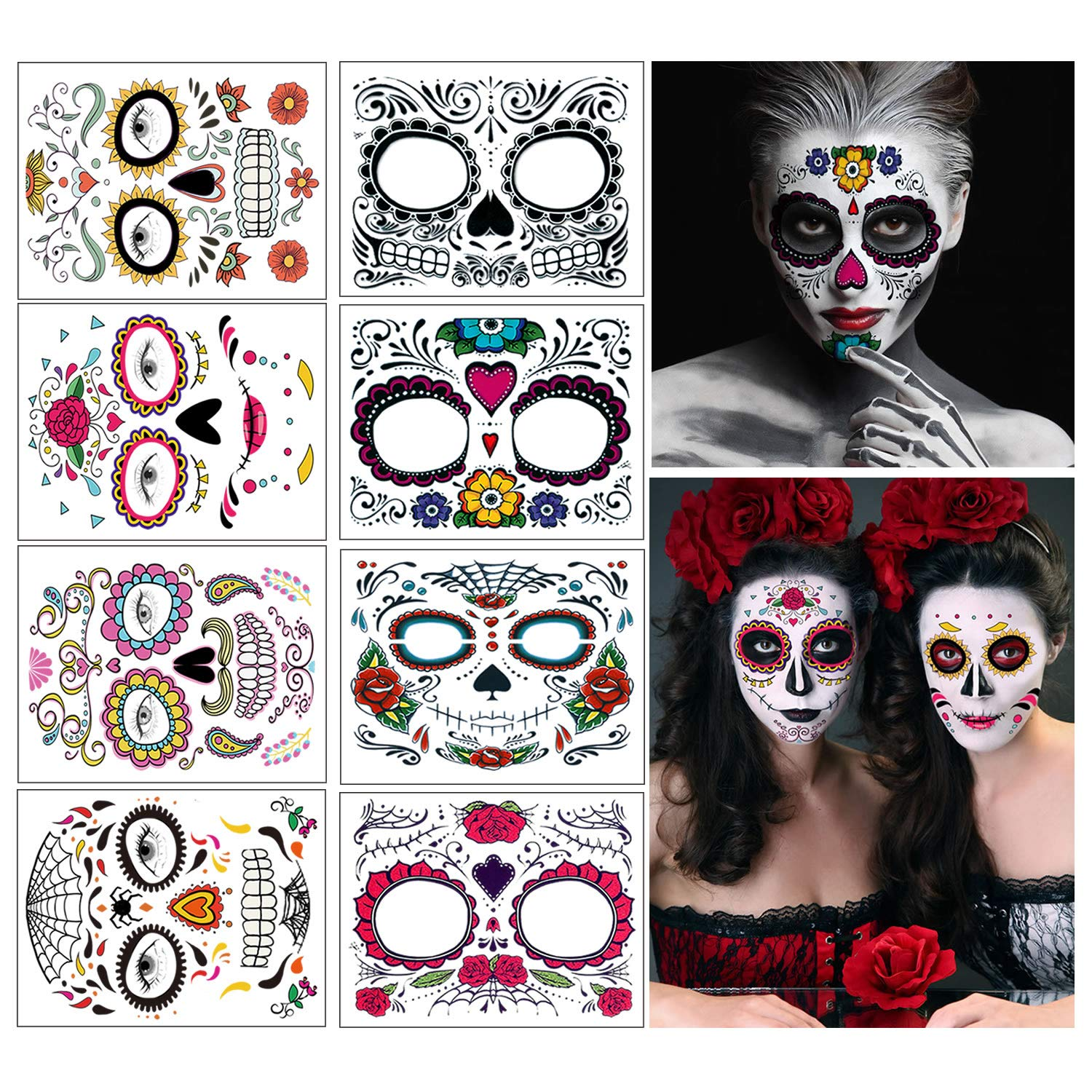 Temporary Face Tattoo, 8 Kits Tattoos Sugar Skull Stickers Day of The Dead Makeup, Face Tattoo Rose Design for Halloween, Masquerade and Parties