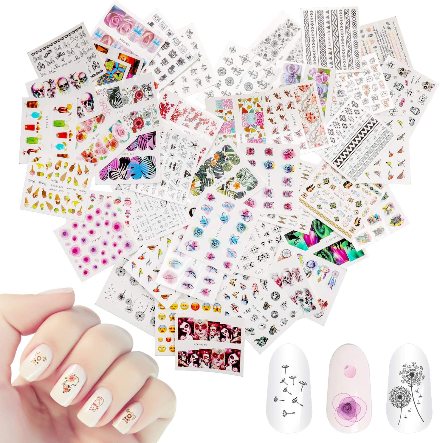 48 Sheets Mixed Nail Art Stickers, AKWOX Nail Art Water Transfer Sticker Home Manicure Decals with Flowers Feather Animal Cat for Women Toenails and Fingernails Decor DIY Nail Tips