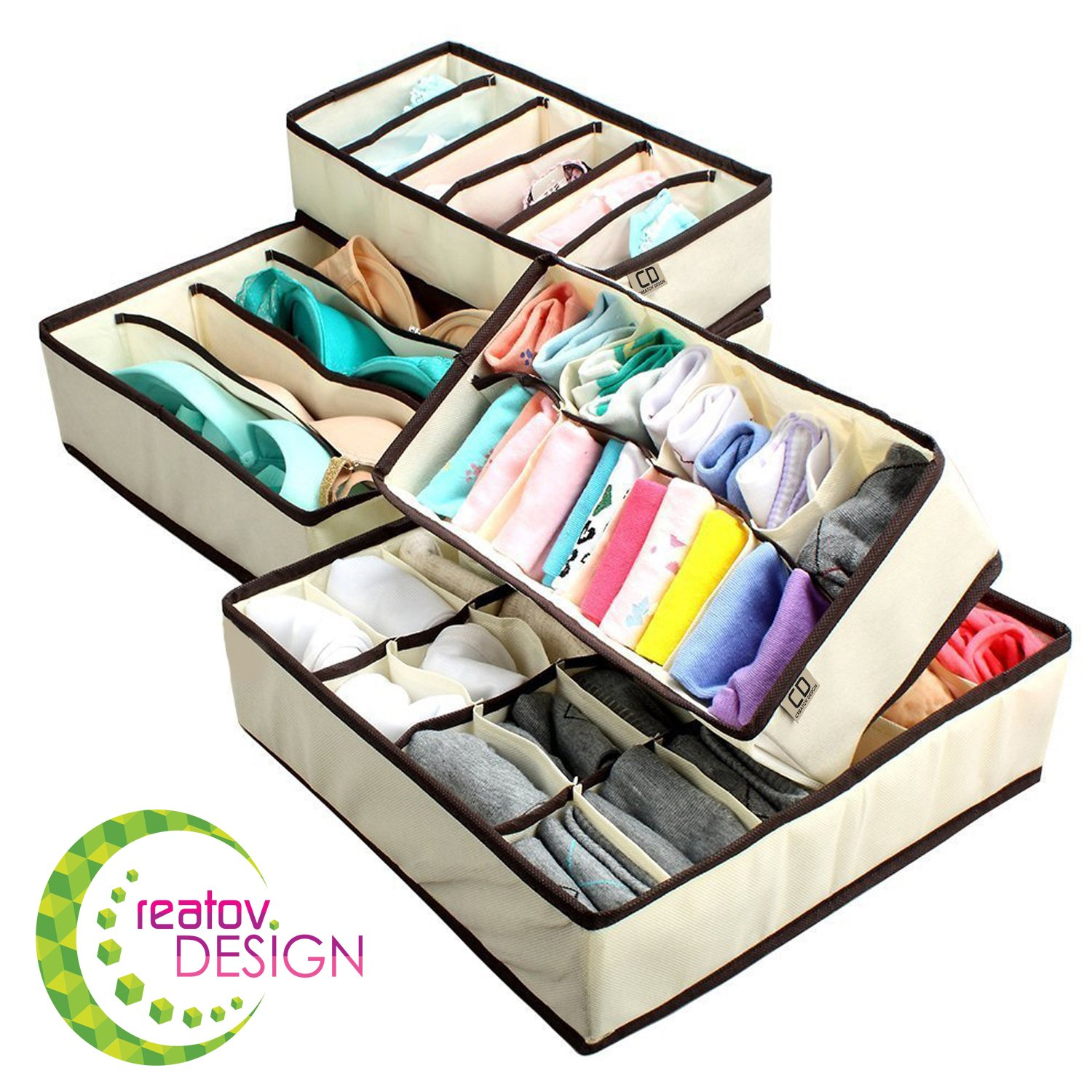 Underwear Sock Drawer Closet Organizer – Set of 4 Collapsible Beige Fabric Foldable Storage Boxes Draw Organizers Divider for Panties Bra Socks Tie Belt Lingerie Clothing Fits Under Bed Drawer Closet Creatov AX-AY-ABHI-99697