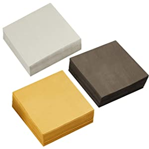 210 Pack of Paper Cocktail Napkins in 3 Colors Gold, Black, Silver, 5 x 5 in)