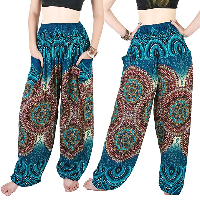 Amazon.com: Boho Genie Hippie Each Baggy Gypsy Yoga Harem ...