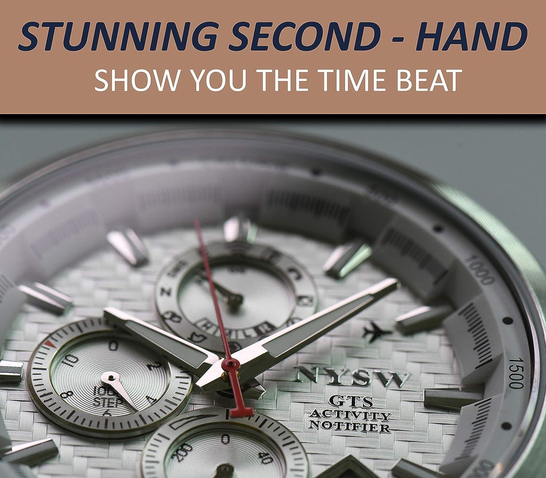 Reloj Inteligente híbrido NYSW para Hombre con Ventana de día y Pasos directos para Leer en la Esfera y Cristal de Zafiro, vibración Feliz Avanzada, ...