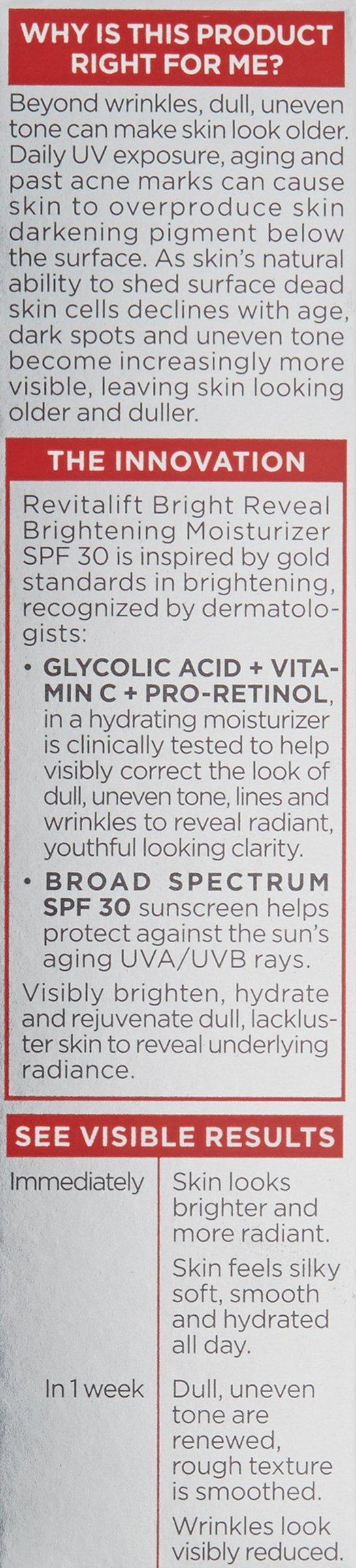 L'Oréal Paris Skincare Revitalift Bright Reveal Face Moisturizer with SPF 30, Glycolic Acid, Vitamin C and Pro-Retinol, 1 fl. oz. by L'Oreal Paris (Image #4)