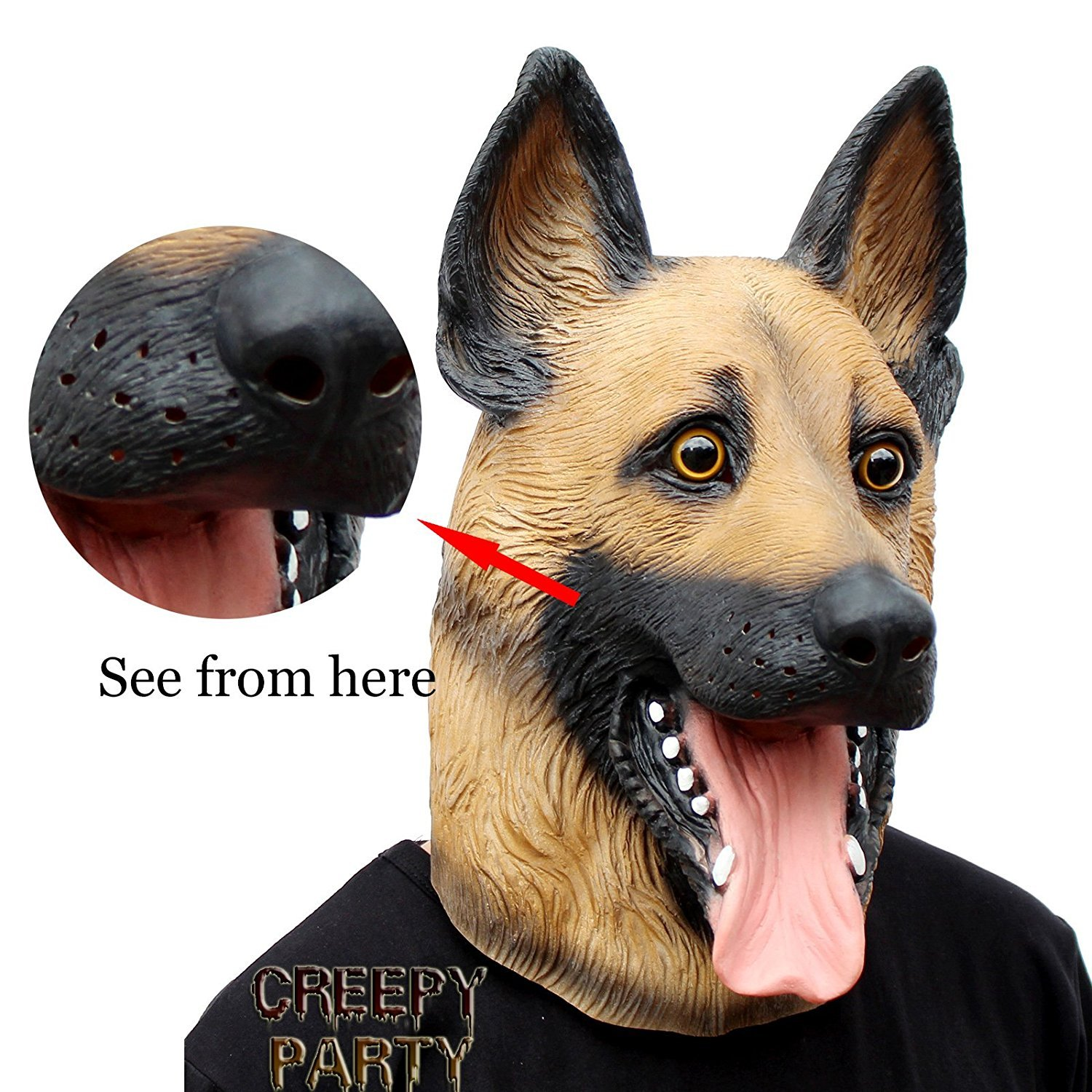 CreepyParty Novelty Halloween Costume Super Bowl Underdog Party Latex Dog Head Mask (German Shepherd) Seaton