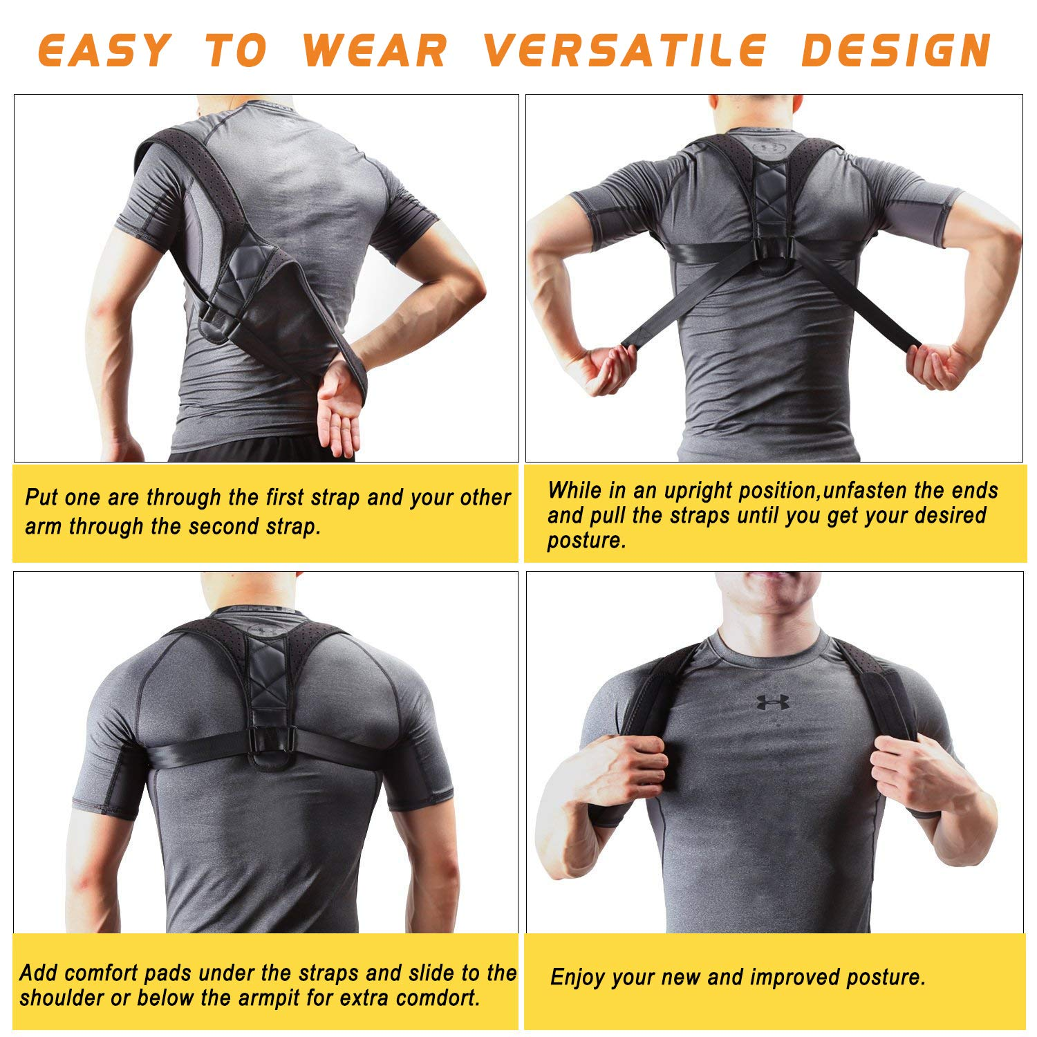 Posture Corrector Brace for Women &Men, Comfortable Better Back and Shoulder Brace Pain Relief, Back Support Belt for Slouching &Hunching, Breathable Corrects Cervical Clavicle Thoracic Support Device