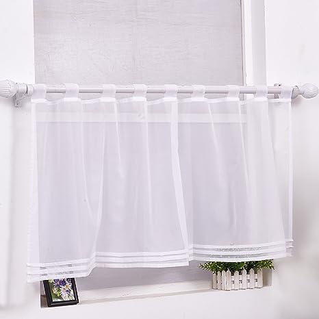 Scheibengardine Bistrogardine Modern Transparent Vorhang Kurzstore mit  Schlaufen Weiss HxB 45x120cm