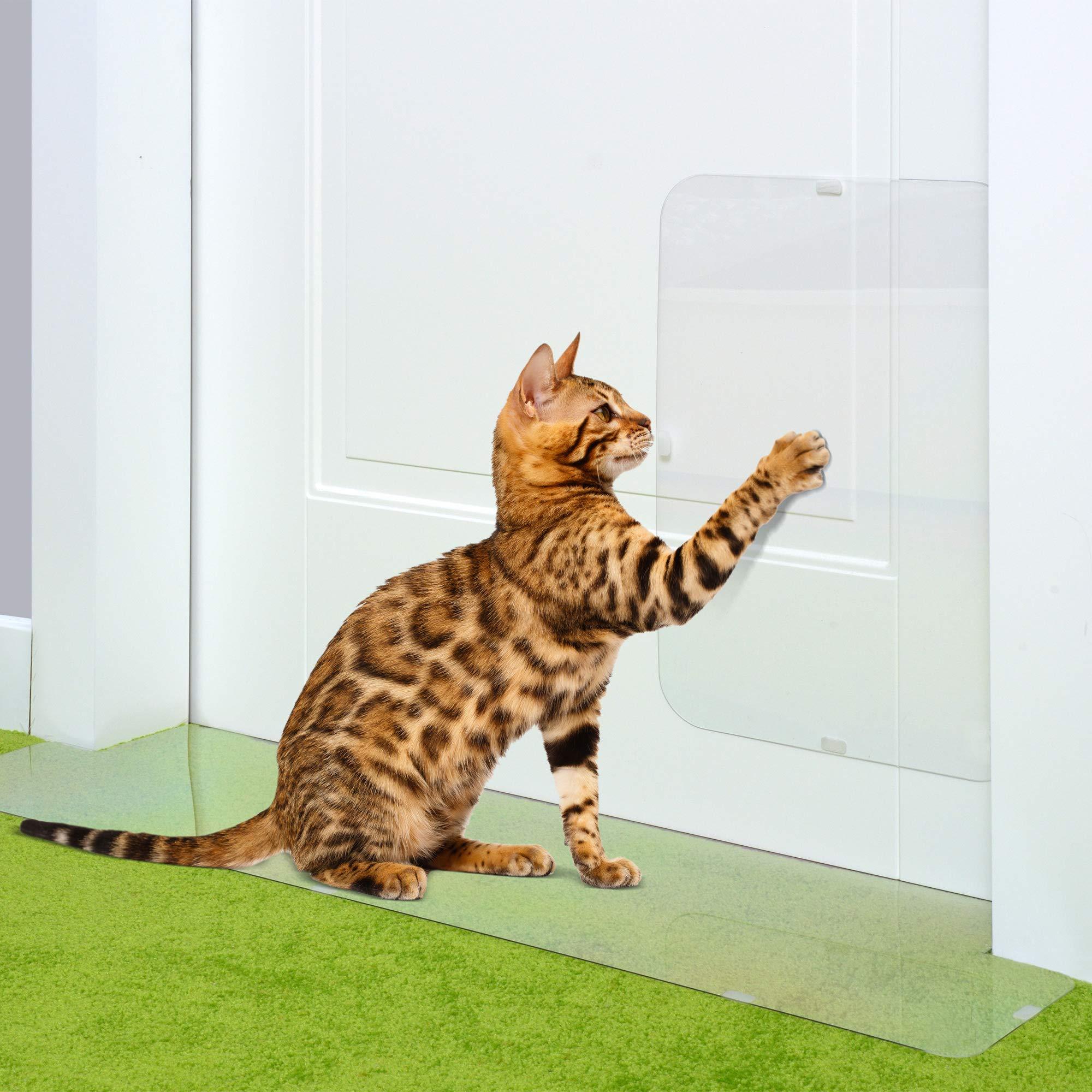 PETFECT Carpet Cat Scratch Protector & Door Guard 2-Piece Set - Tough See-Thru Deterrent w/Slip Stopper Design for Floors & 30 Inch Doorways