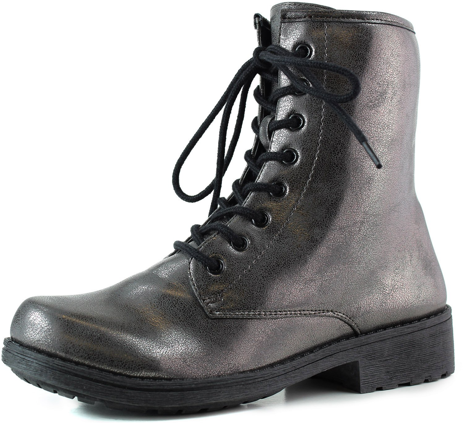 Women's Ankle Booties Military Combat Lace Up Boot Pewter Metallic Color, Pewter , 8.5