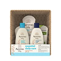 Aveeno Baby Essential Daily Care Baby & Mommy Gift Set featuring a Variety of Skin Care and Bath Products to Nourish Baby and Pamper Mom, Baby Gift for New and Expecting Moms, 7 items