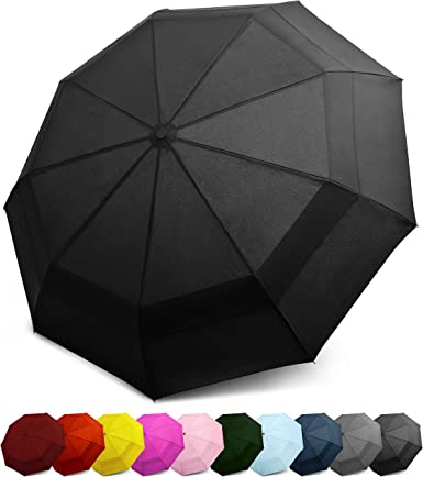 EEZ-Y Compact Travel Umbrella w// Windproof Double Canopy TESTED DURABILITY