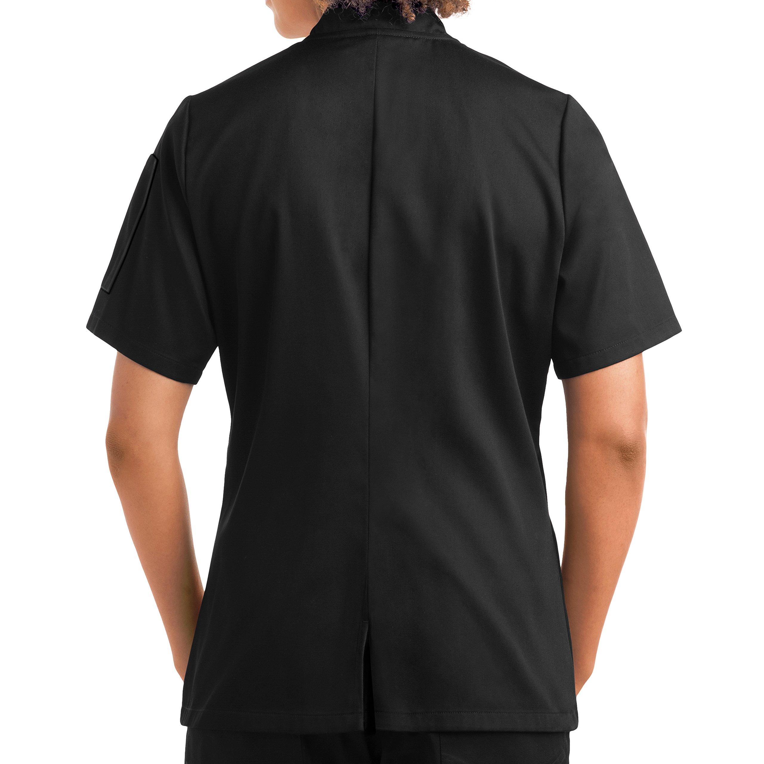 On The Line Women's Short Sleeve Chef Coat/Double Breasted/Plastic Button Reversible Front Closure (S-2X, 2 Colors) (Small, Black) by On The Line (Image #3)