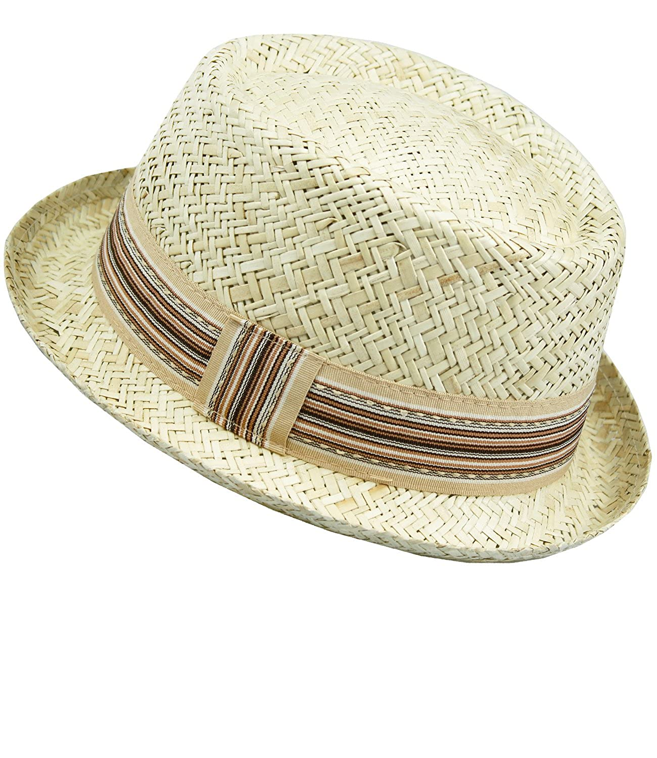 EveryHead Fiebig Men's Straw Hat Porkpie Pork Pie Summer Coneflower Fashion Holiday Beach with Ribbed Band for Men (FI-16546-S17-HE1) incl Hutfibel