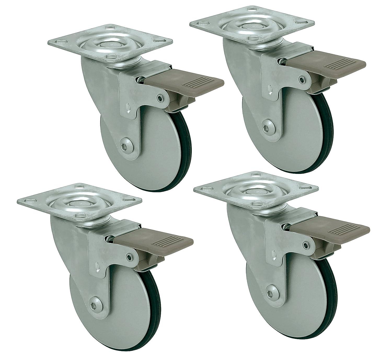 Headbourne 8289E Designer Casters 3 inch Aluminum Designer Caster with Polyethylene Tread 4 Pack