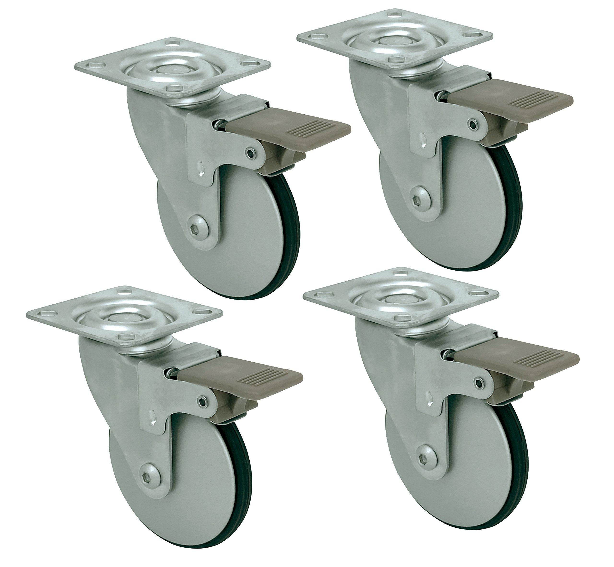 Headbourne 8289E Designer Casters 3 inch Aluminum Designer Caster with Polyethylene Tread, 4 Pack