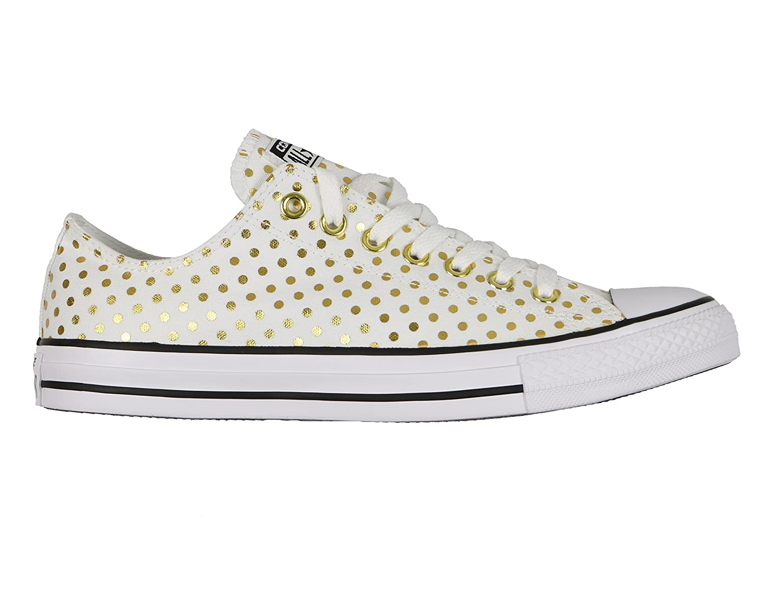 Converse Women's Chuck Taylor All Star 2018 Seasonal Low Top Sneaker B06WRS2NFM Mens 9/Womens 11|Dots White/Gold 9440