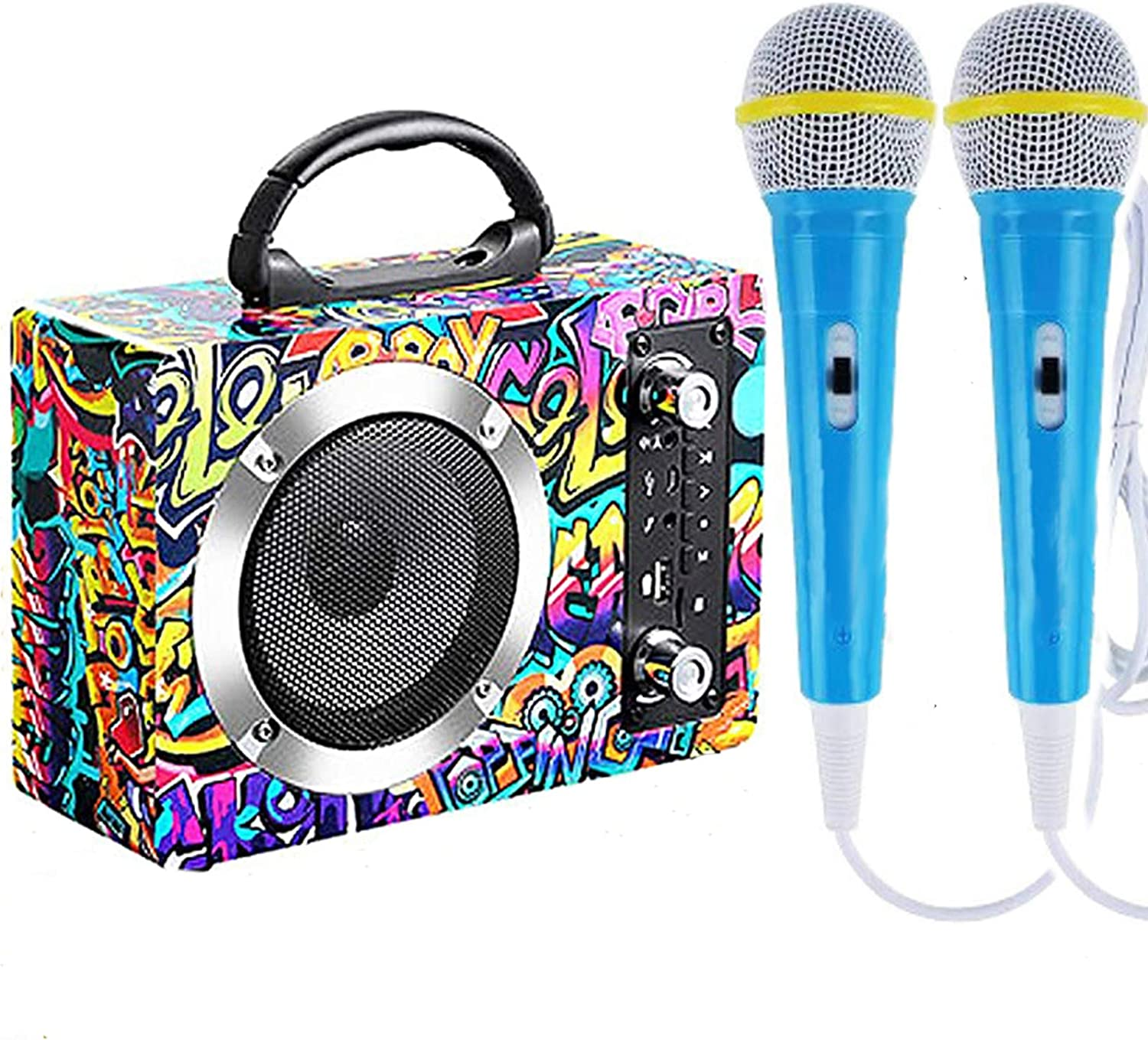 ParfaitRever Wooden Bluetooth Karaoke Machine for Kids & Adults, Cartoon Plated Rechargeable Wireless Speaker Music Box MP3 Player with 2 Microphones for Party Birthday Gift