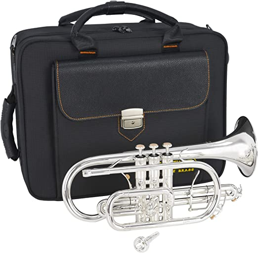 Silver Plate Finish EDGWARE ECR01 Concert Series Bb Cornet with Case and Silver Plated Mouthpiece