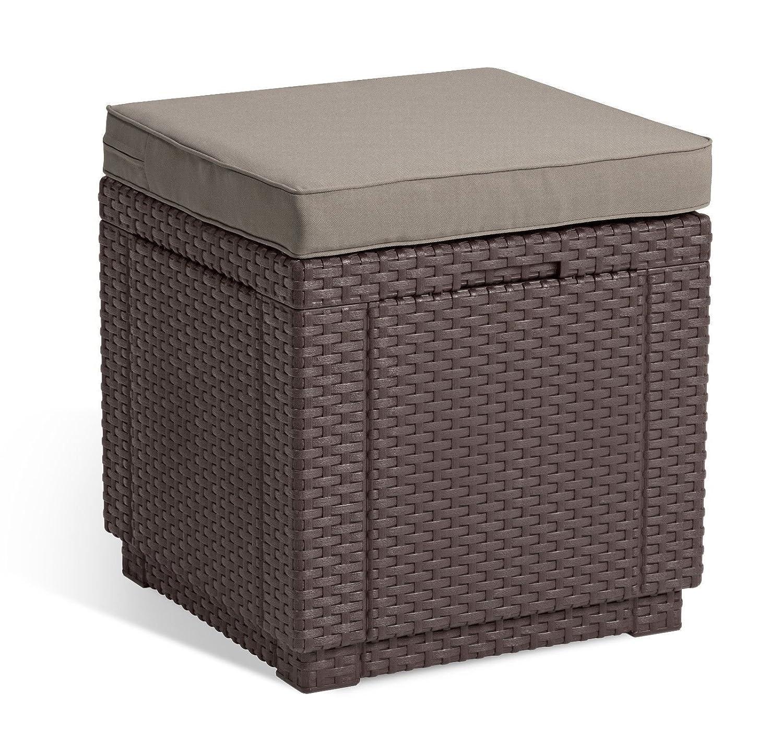 Sitzkissen Koll Living Sitzhocker Cubic XL in braun Kunststoff in Rattanoptik 42x42x39 cm Innenraum vom Hocker kann als Stauraum genutzt Werden inkl