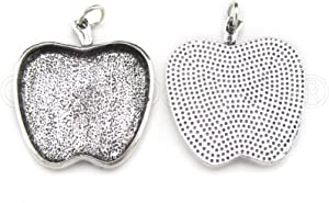 "CleverDelights 1"" Apple Pendant Trays - Antique Silver Color - 10 Pack"