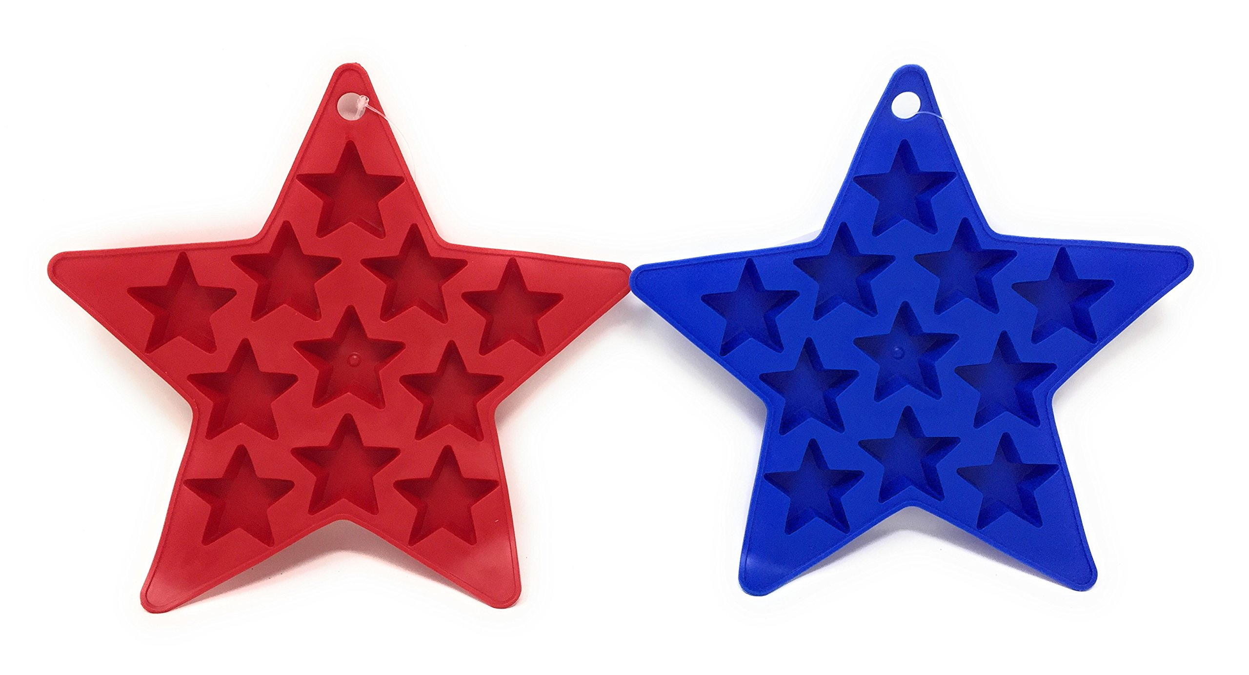 Patriotic Star Shaped Ice Cube Trays in Red and Blue (Set of 2) Makes 22 Star-Shaped Ice Cubes by Hobbeez (Image #1)