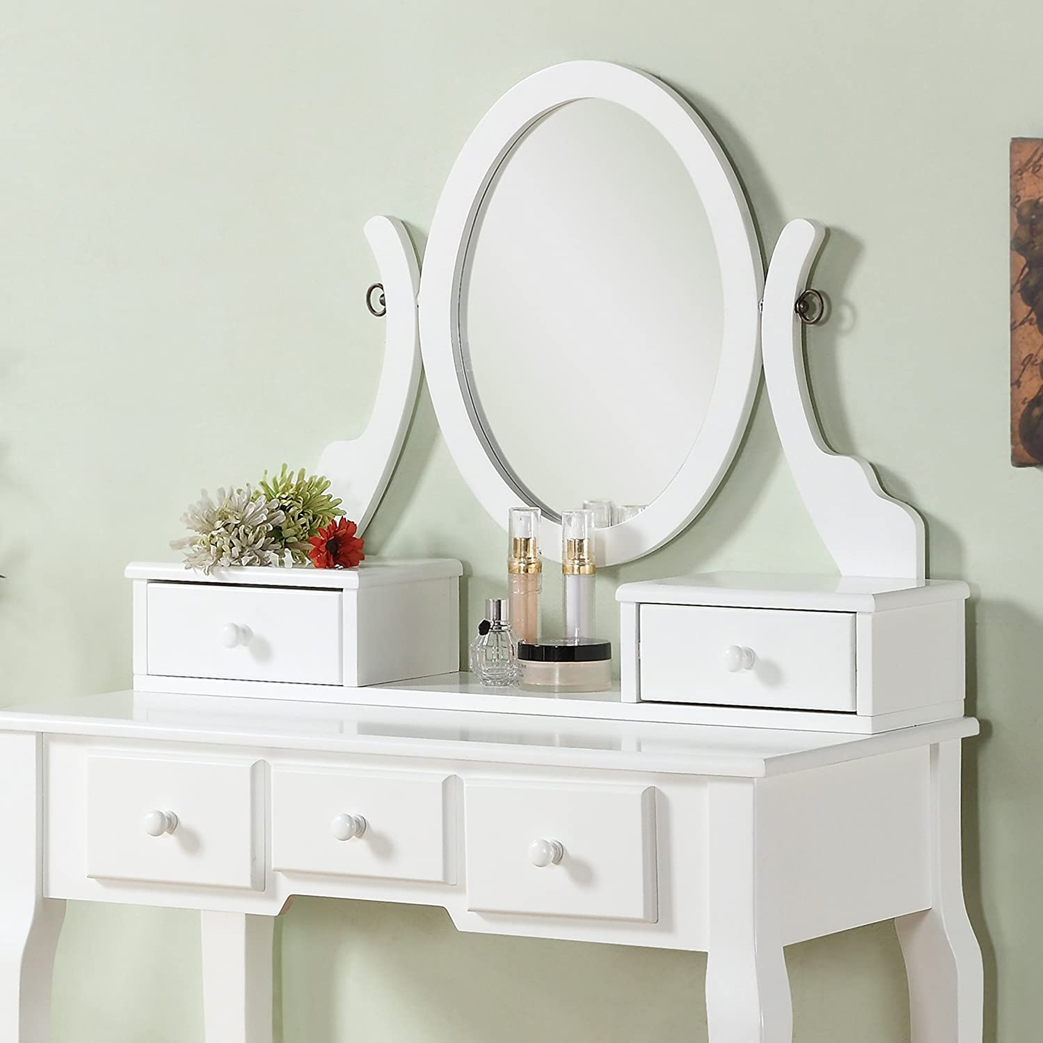 Amazoncom Roundhill Furniture Ashley Wood MakeUp Vanity Table - Vanity table