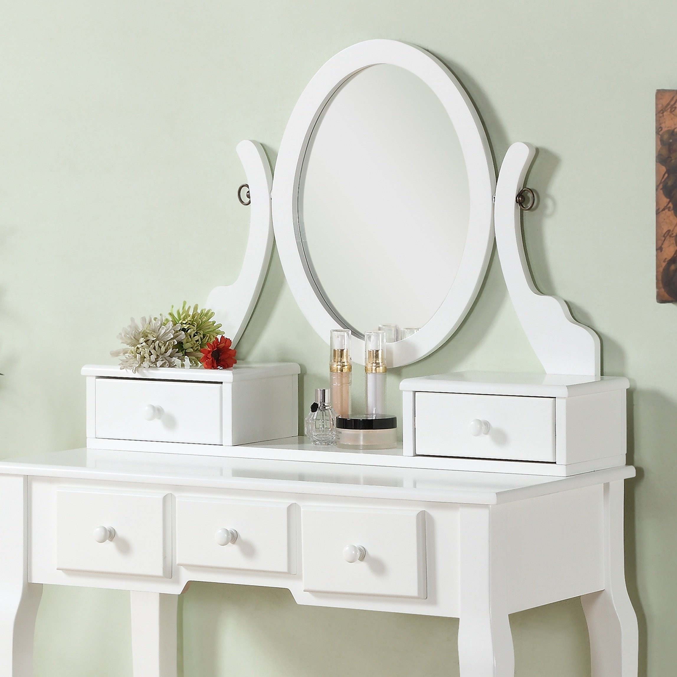 Roundhill Furniture Ashley Wood Make Up Vanity Table And