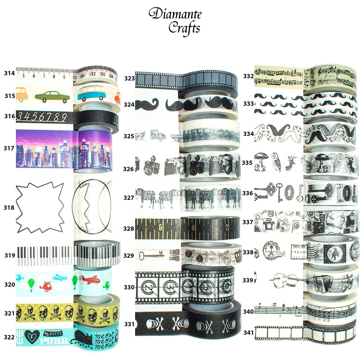 1 Roll Washi Tape Decorative Masking Adhesive Paper Craft Gift Trim - by Diamante Crafts - Choose Design - Novelty 1 Collection (318 - Tags Labels (50mm x 5m))