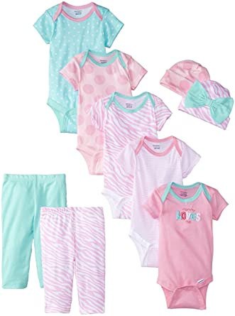 Gerber Baby Girls' 9 Piece Bodysuits Gift Set, Pink,Bodysuit Pant(0/3Months)