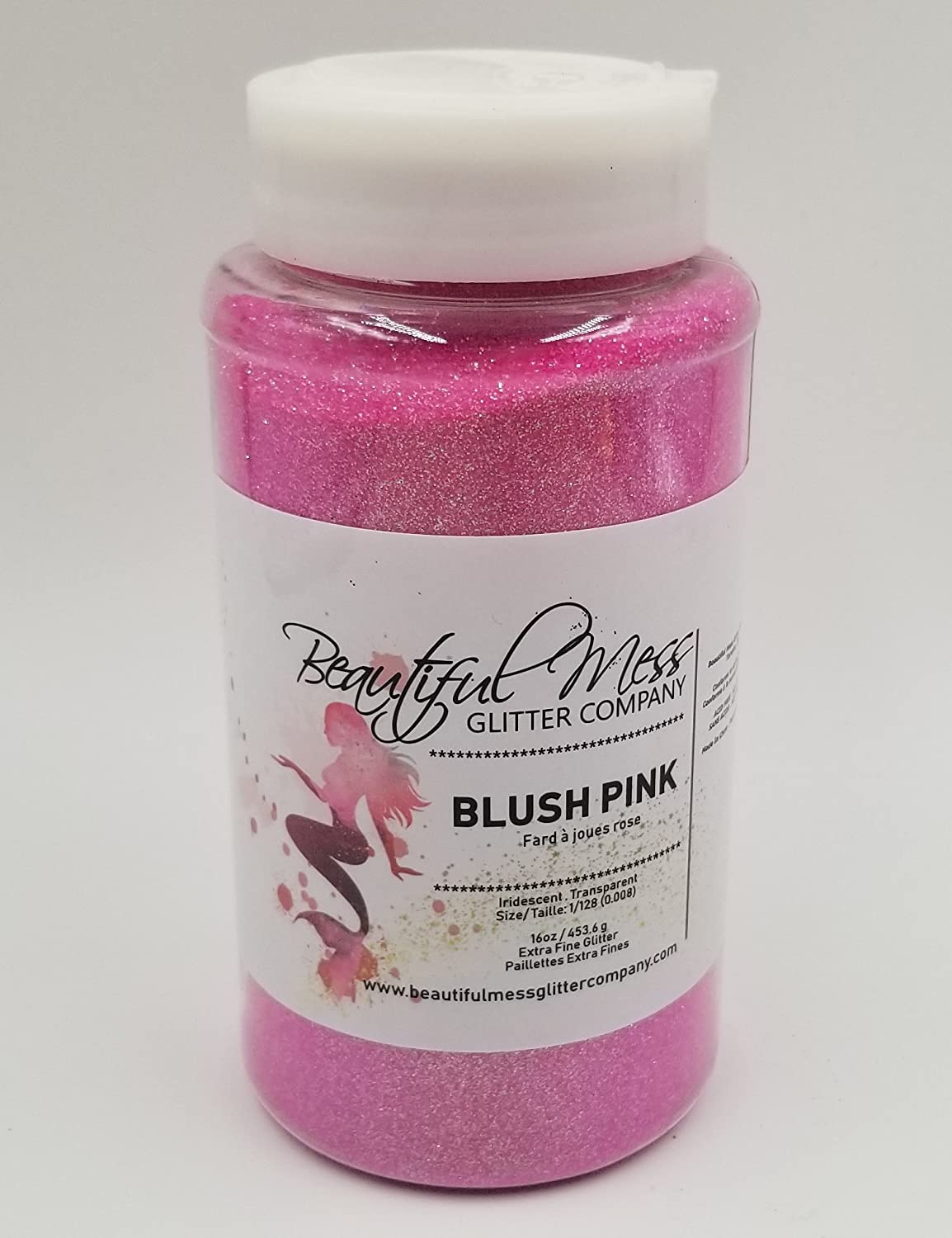 Blush Pink, 16 oz, Extra Fine Iridescent Glitter Powder, Polyester/PET glitter, 1/128, with Glitter Shaker BMGC