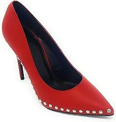 Wild Diva Womens Pointed Pointy Toe Silver Studs Stiletto High Heel Slip On Pumps
