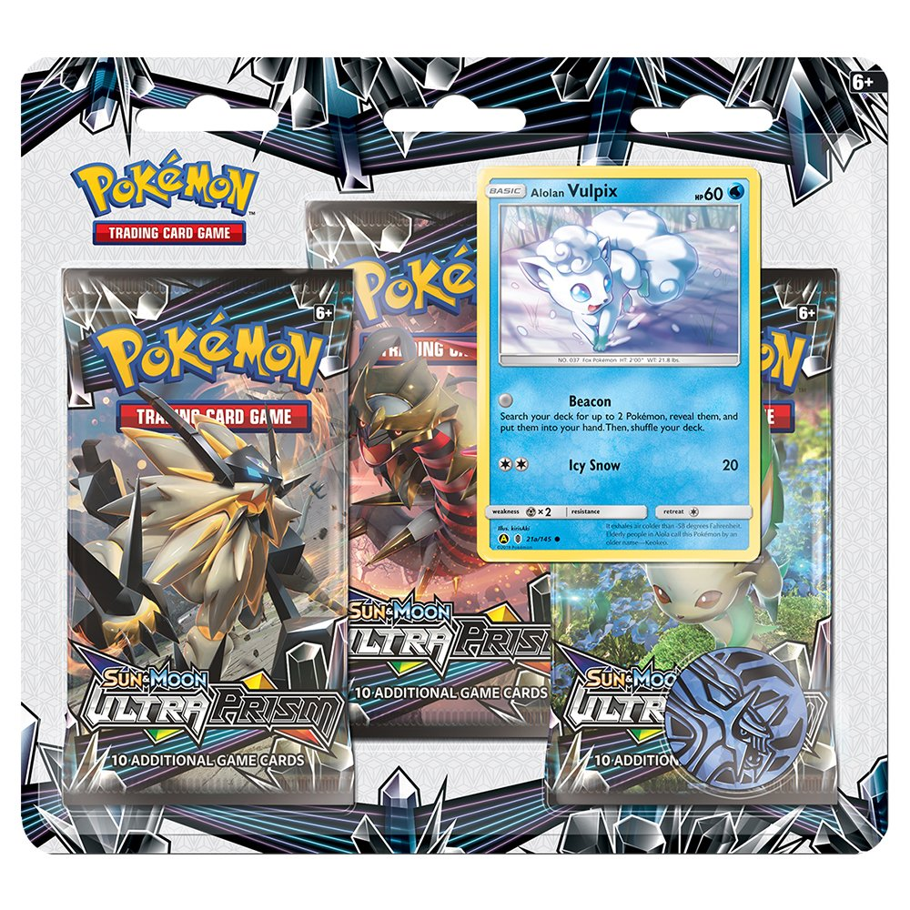 Pokemon TCG: Sun and Moon Ultra Prism, Blister Containing 3 Booster Packs and Featuring A Foil Promo Alolan Vulpix Card, Winter 2018