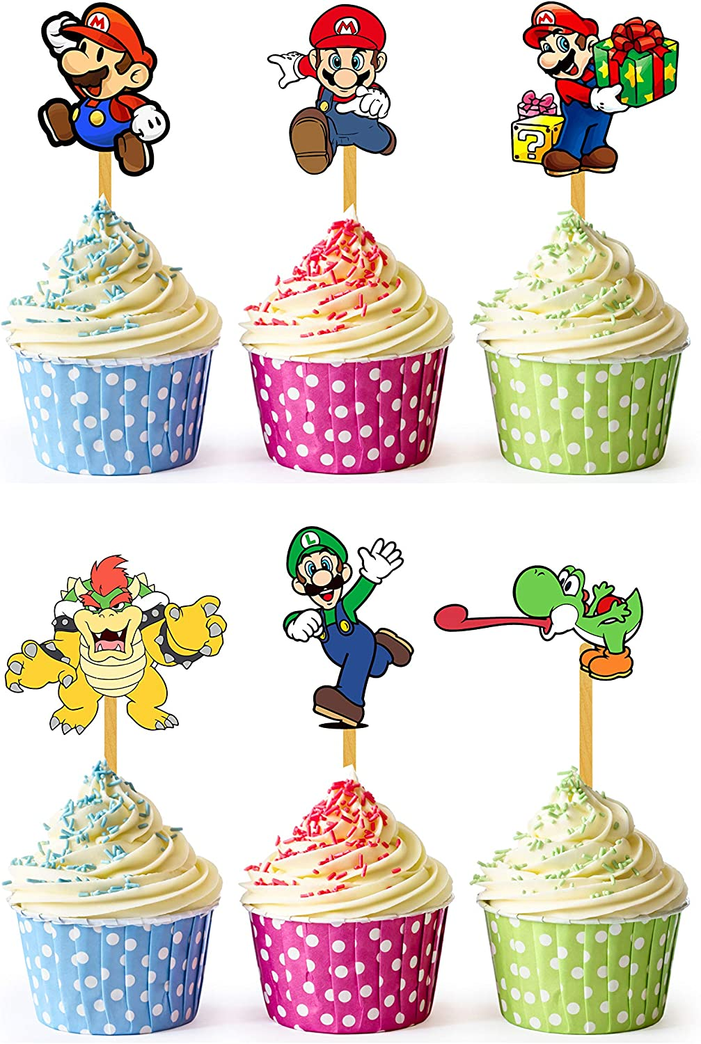 24x Cupcake Topper Picks (Super Mario)