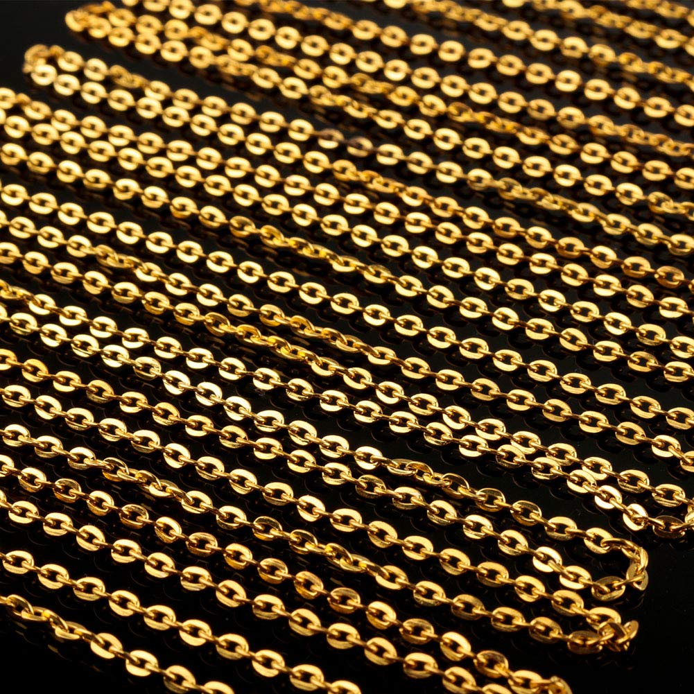 c/âble en vrac 2 mm de largeur or Ucatcher 39 Cha/îne de gourmette /à cha/îne gourmette avec 30 fermoirs mousqueton et 100 anneaux ouverts pour la fabrication de bijoux
