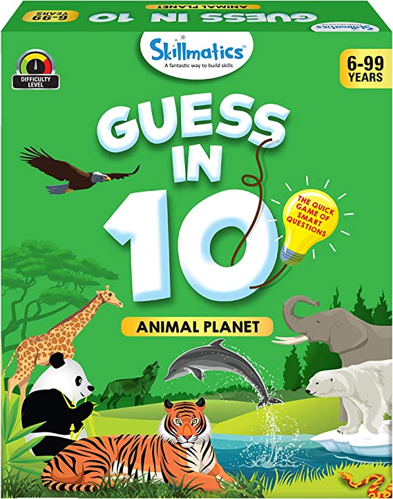 Skillmatics Educational Game : Animal Planet - Guess in 10 (Ages 6-99 Years) | Card Game of Smart Questions | General Knowledge for Kids