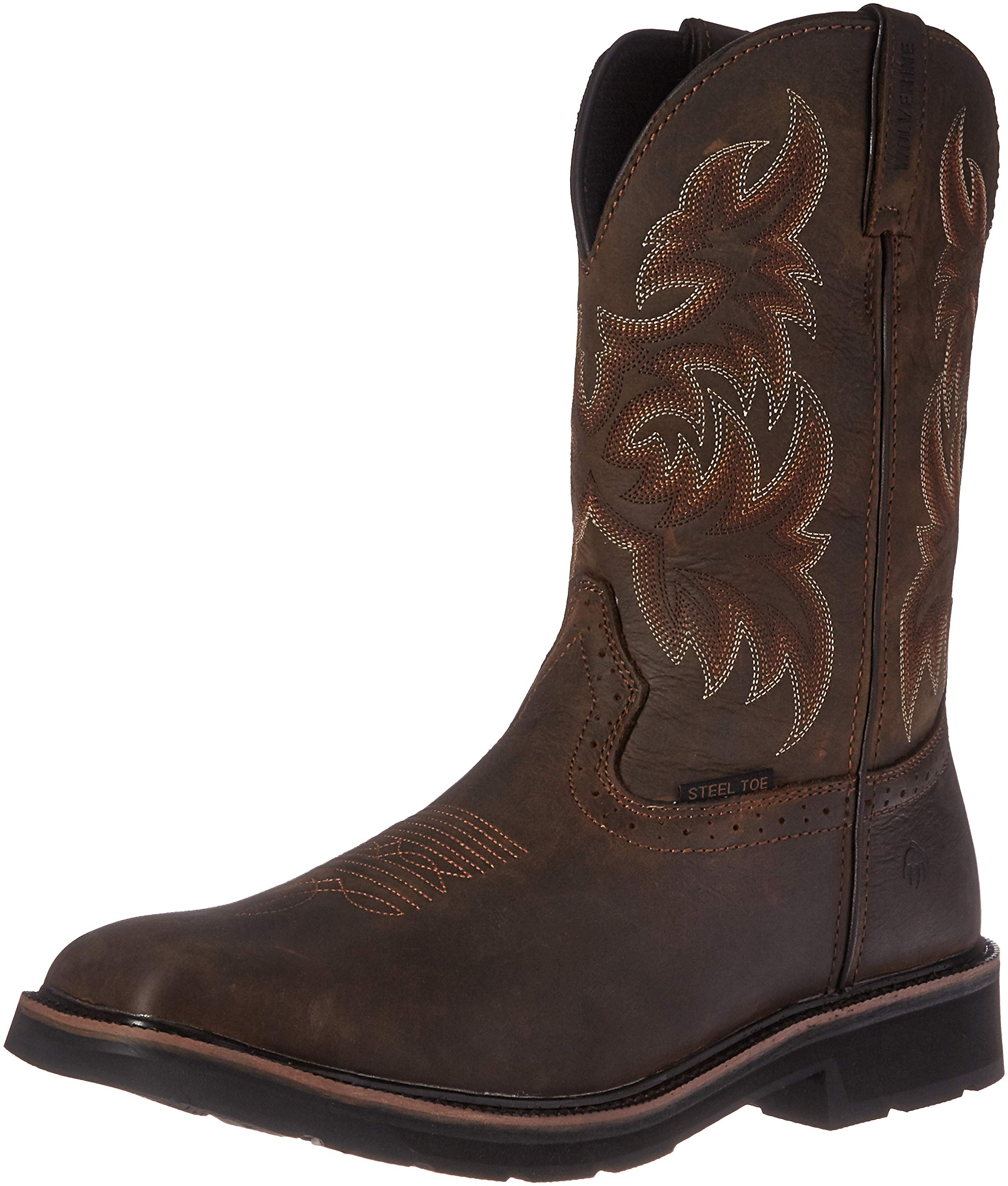 Wolverine Men's Rancher 10'' Square Steel Toe Work Boot, Dark Brown/Rust, 9 M US