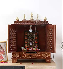 HomeCrafts Wooden Home Puja Temple (18x12x24 Inches)