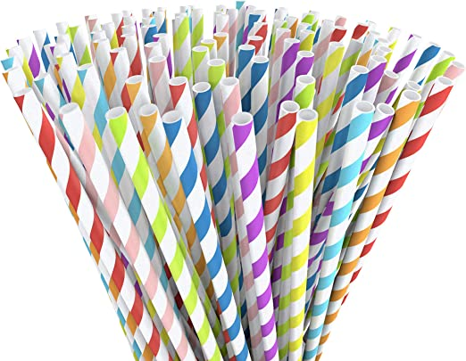 All White Party Drinking 100/% Eco Biodegradable Compostable Paper Straws
