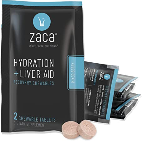 Zaca Recovery Chewable Supplement   Hydration + Liver Aid   Party, Travel, Exercise & Altitude   Sugar Free & Gluten Free   Mixed Berry, 6 Packs = 12 Tablets