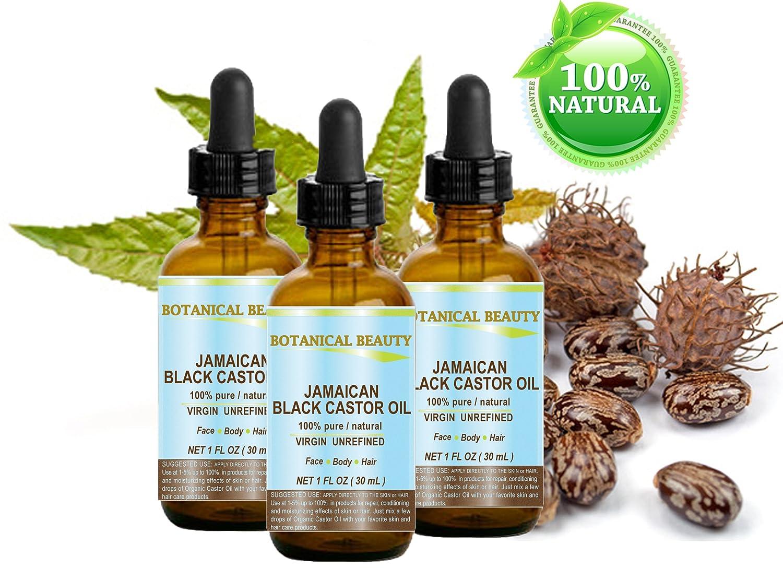 Negro aceite de ricino Jamaica. 100% puro/Natural/Virgin/prensado en frío sin refinar aceite portador. 1 fl. oz.-30 ml. Para la piel, cabello, pestañas, ...