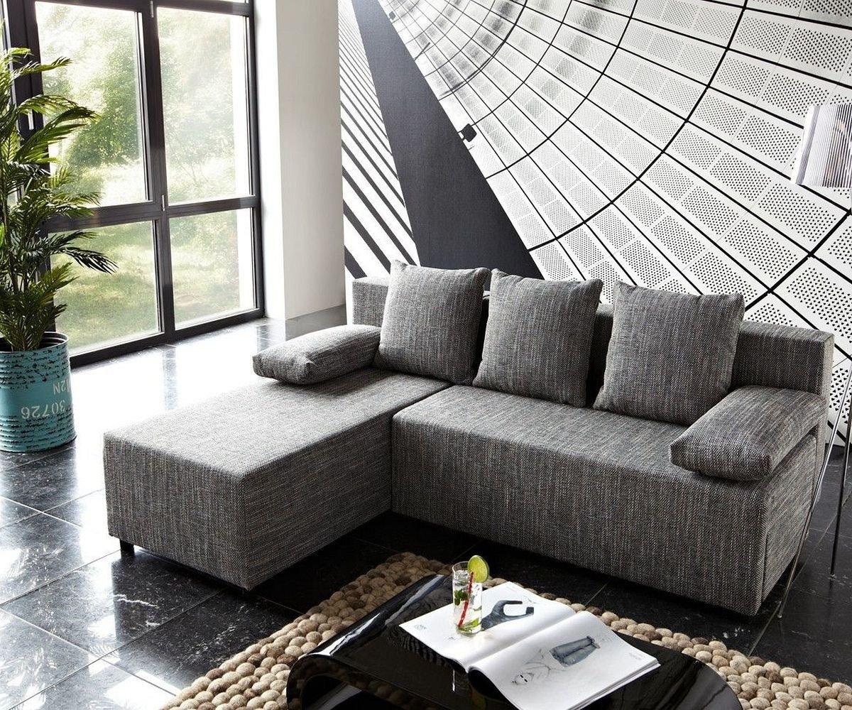Ecksofa grau mit schlaffunktion  Couch Janelle Grau 200x155 mit Schlaffunktion Ottomane variabel ...