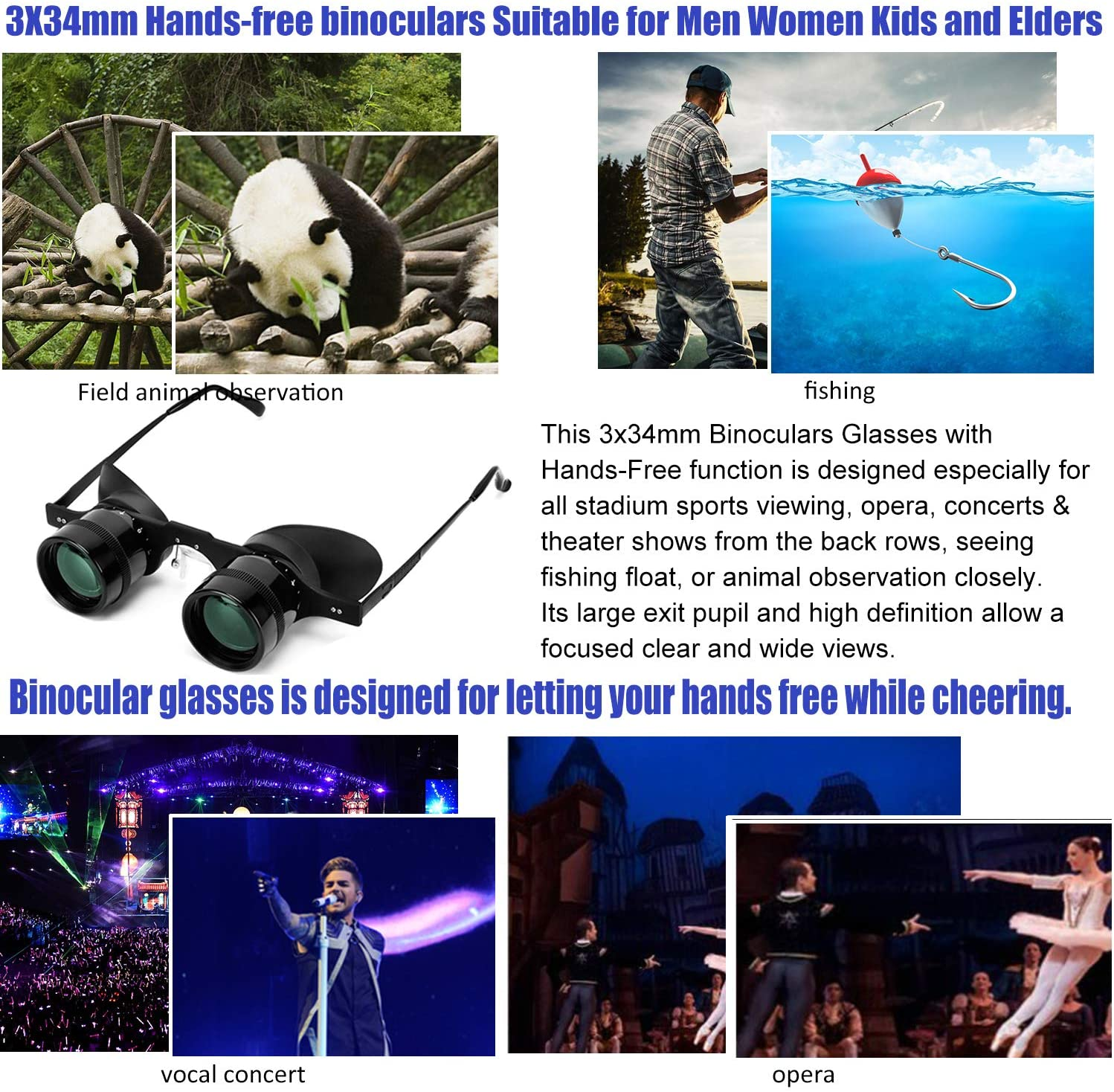 Professional Hands-Free Binocular Glasses for Fishing Bird Watching Sports Concerts Theater Opera Sight Seeing Hands-Free Opera Glasses for Adults Kids Green Film Optics -Upgraded