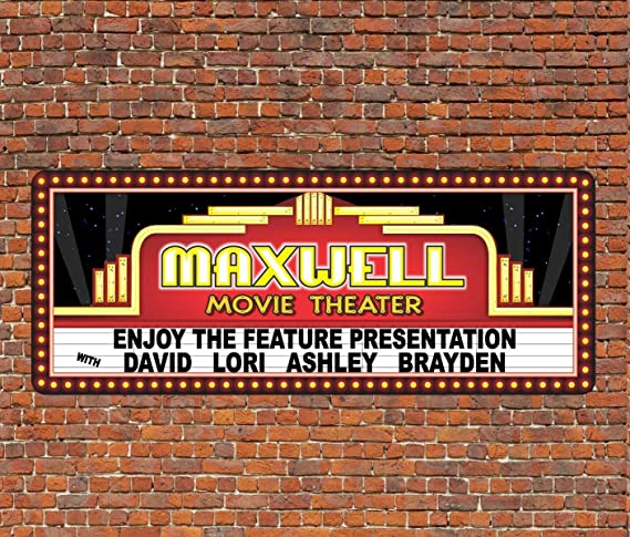 Custom Movie Theater Decor Theater Sign Quality Aluminum ENSA1001411-4 x18 Quality Aluminum Sign Metal Basement Sign Man Cave Sign Personalized Family Name Sign