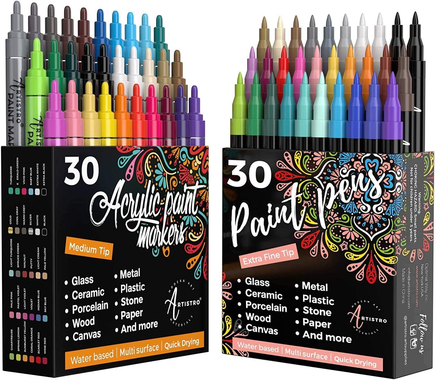Artistro 30 Acrylic Paint Markers Medium Tip and 30 Acrylic Paint Markers Extra Fine Tip