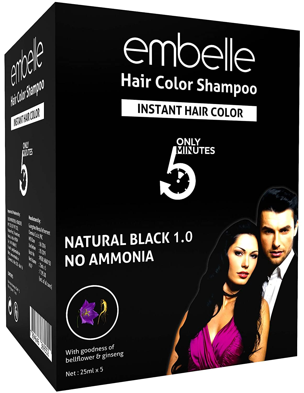 Buy Siso Embelle Instant Hair Color 25ml 10 Sachets Online At