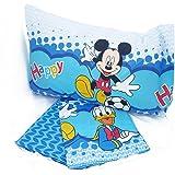 Disney - Parure de lit Happy Mickey et Donald 3 pièces - drap de dessus, drape housse + taie d'oreiller - double face avec dessin - 100 % coton - produit italien